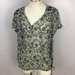 Lucky Brand Side Tie Blouse Blue Floral XL